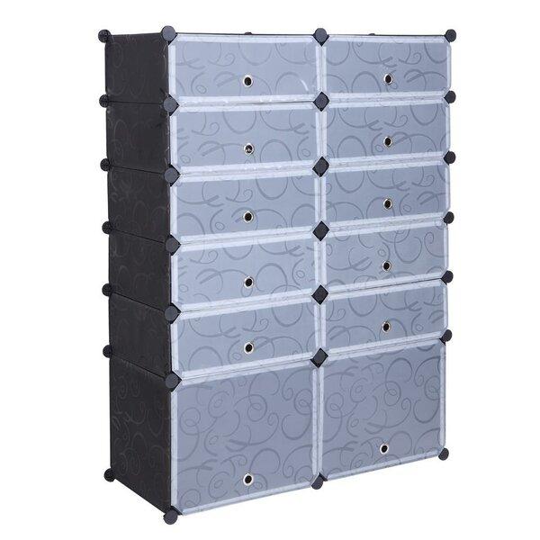 12-Cube DIY Modular Organizer 36 Pair Shoe Storage Cabinet