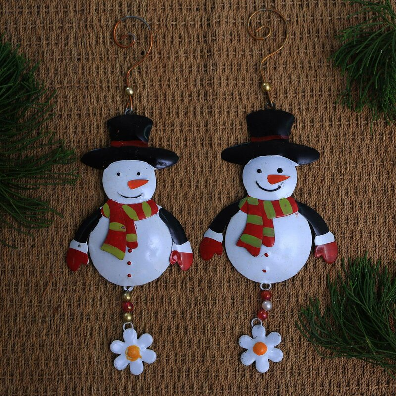 The Holiday Aisle Set Of 2 Snowman Delight Hanging Figurine Ornament Wayfair