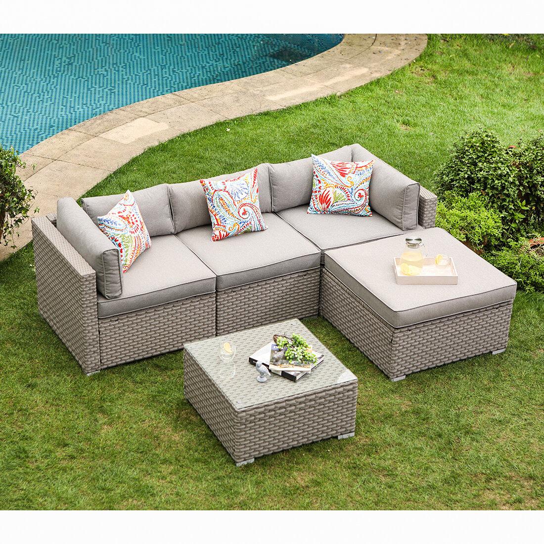 5 Piece Outdoor Furniture Set Warm Gray