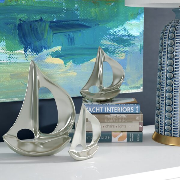 Gilman 3 Piece Silver Sailboat Sculpture Set by Beachcrest Home