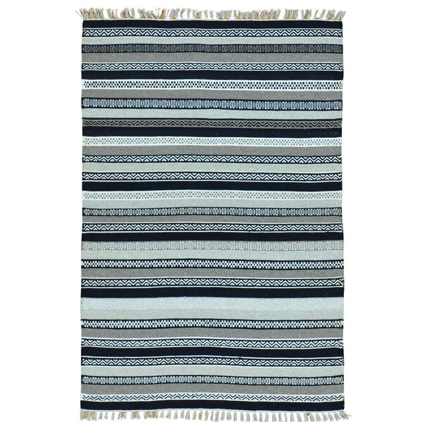 Striped Durie Kilim Flat Weave Oriental Hand-Knotted Blue/White Area Rug by Bloomsbury Market