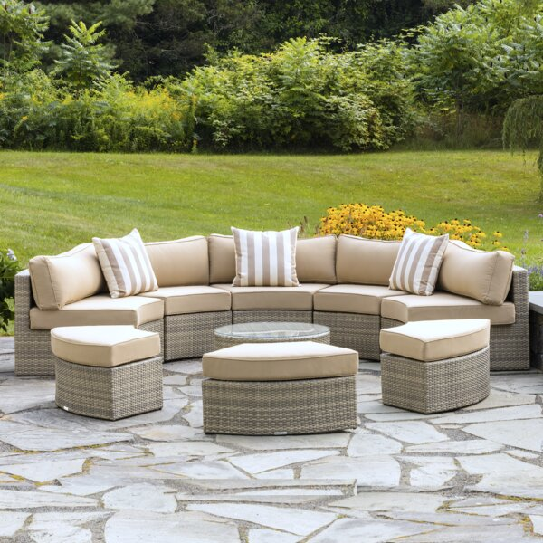 Santorini 9 Piece Rattan Sectional Seating Group with Cushions by Madbury Road