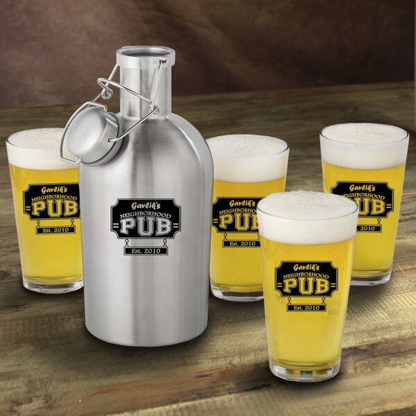 Neighborhood Pub Personalized 5 Piece Beverage Serving Set by JDS Personalized Gifts