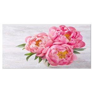 'Bunch of Peony Flowers In Vase' Photographic Print on Wrapped Canvas by Design Art