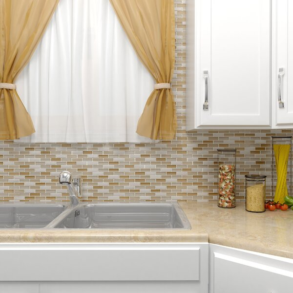 Sierra 0.58 x 1.88 Glass and Natural Stone Mosaic Tile in Latte by EliteTile