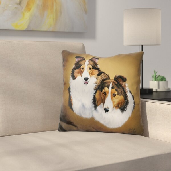 Collies Throw Pillow by East Urban Home