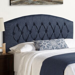 Sherburne Curved Upholstered Headboard in Blue by Three Posts