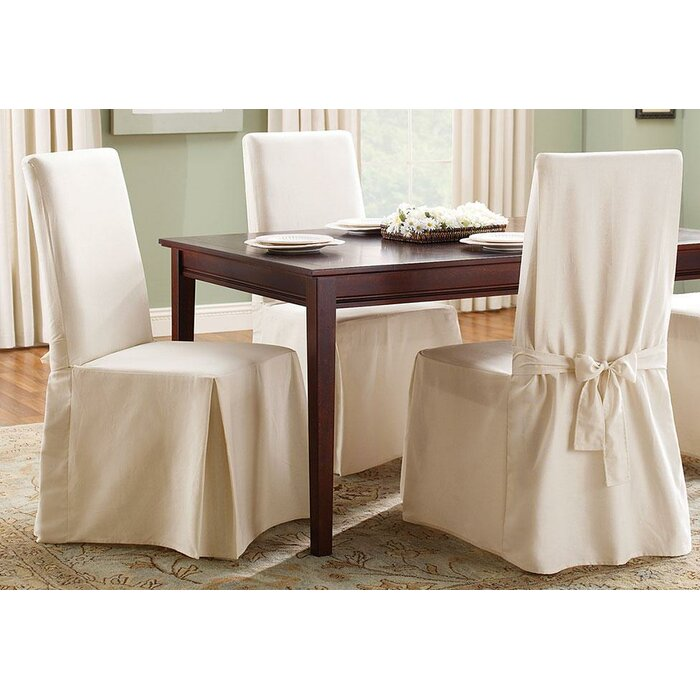 Wondrous Cotton Duck Box Cushion Dining Chair Slipcover Uwap Interior Chair Design Uwaporg