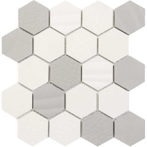 Surface Hex 3 x 3 Porcelain Mosaic Tile in Blend by Emser Tile