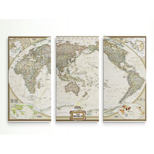 'National Geographic World Map' Graphic Art Print Multi-Piece Image on Wrapped Canvas by Astoria Grand