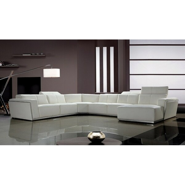 Trendy Coalpit Left Hand Facing Heath Leather Sectional by Orren Ellis by Orren Ellis