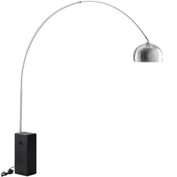 Alaina Cube Marble Base 90.5 Arched Floor Lamp by Orren Ellis