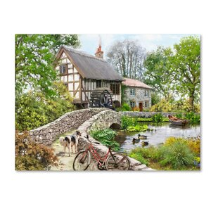 'Watermill with Rowboat and Dog' Print on Wrapped Canvas by Charlton Home