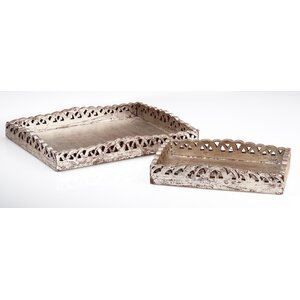 Vendome 2 Piece Wooden Tray Set