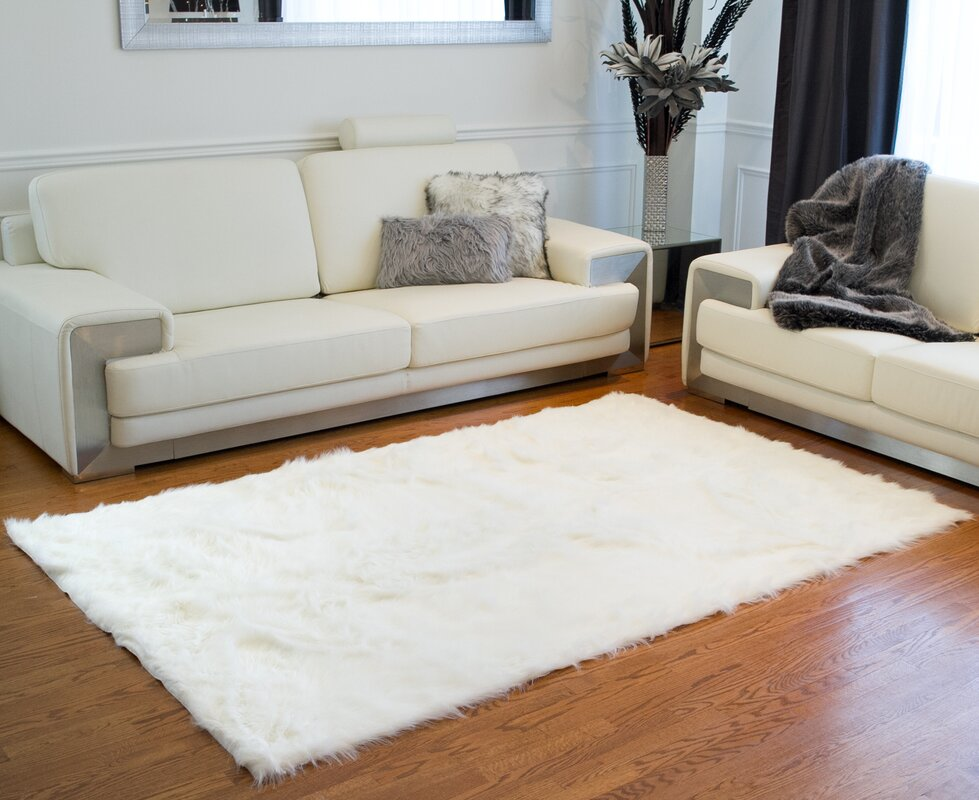 Shawnta Off-White Faux Sheepskin Area Rug