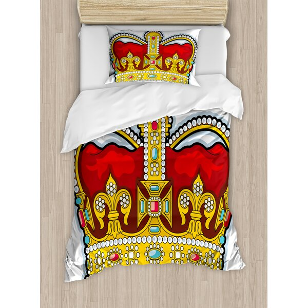 Heraldry Medieval British Crown with Middle Age Embellish Stones and Forms Art Print Duvet Set by East Urban Home