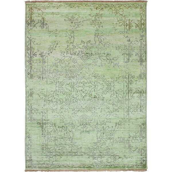 One-of-a-Kind Caballero Ushak Hand-Knotted Lime Area Rug by Bungalow Rose