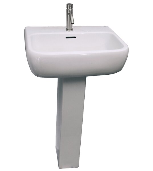 Metropolitan 420 Vitreous China Rectangular Pedestal Bathroom Sink with Overflow by Barclay