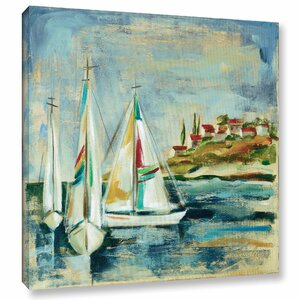 Sailboats I Framed Painting Print on Wrapped Canvas by Breakwater Bay