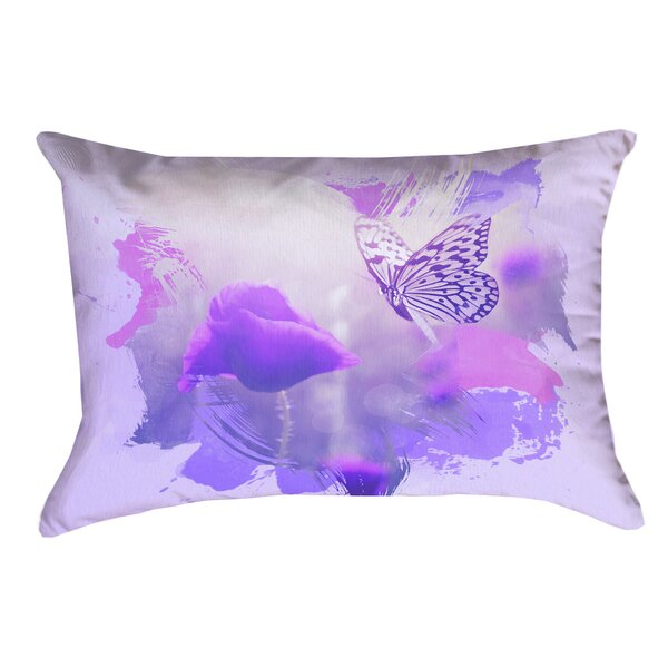 Elwyn Watercolor Butterfly and Rose Waterproof Outdoor Lumbar Pillow by August Grove