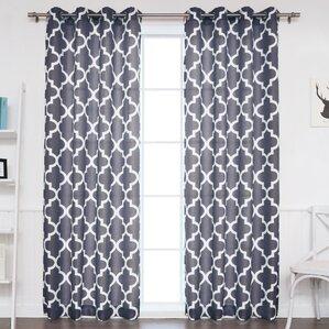 arrey basketweave moroccan geometric semisheer grommet curtain panels