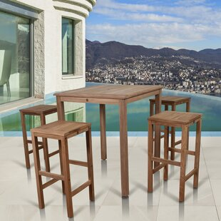 Elsmere Patio 5 Piece Teak Dining Set with Cushions By Beachcrest Home
