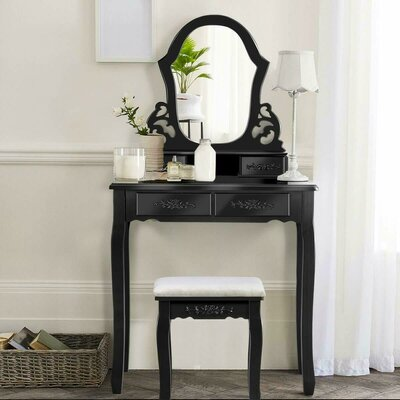 Enrico Vanity Set with Mirror Color: Black
