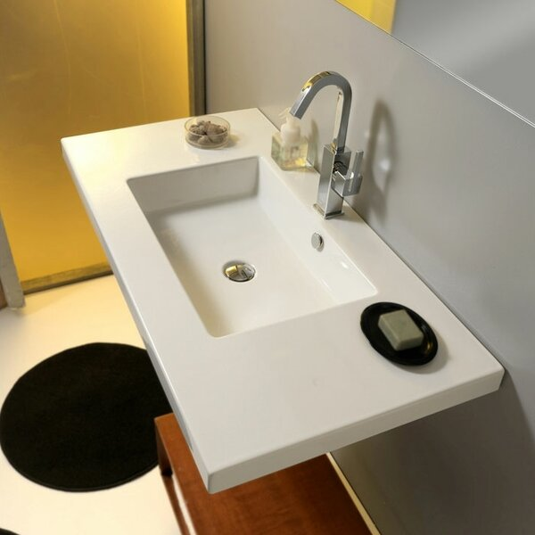 Mars Ceramic 42 Wall Mount Bathroom Sink with Overflow by Ceramica Tecla by Nameeks