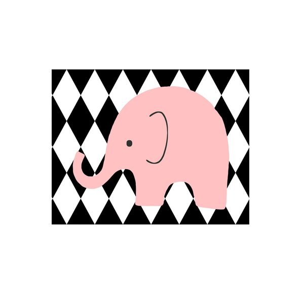 Elephant Harlequin Paper Print by Evive Designs