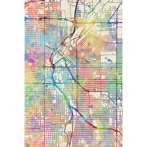 Urban Rainbow Street Map Series: Denver, Colorado, USA Graphic Art on Wrapped Canvas by East Urban Home