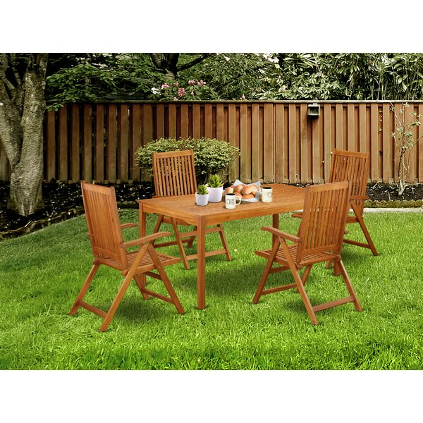 Syed 5 Piece Patio Dining Set by Longshore Tides