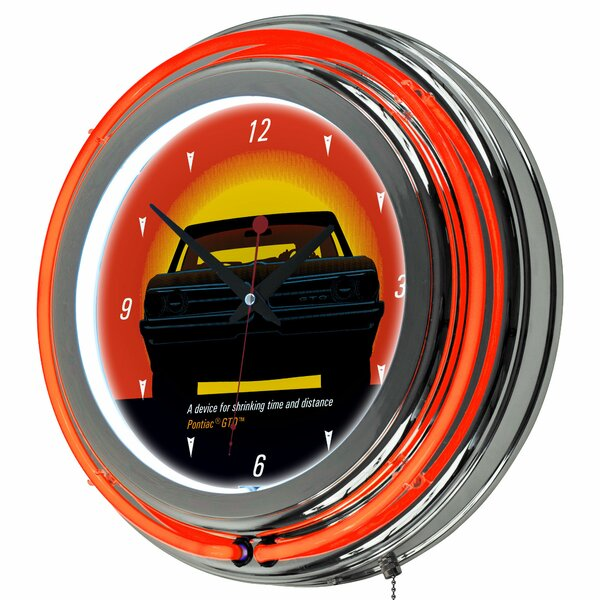 Pontiac 14.5 GTO Time and Distance Neon Wall Clock by Trademark Global