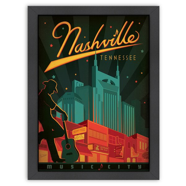 Nashville Broadway, Music City Framed Vintage Advertisement by East Urban Home