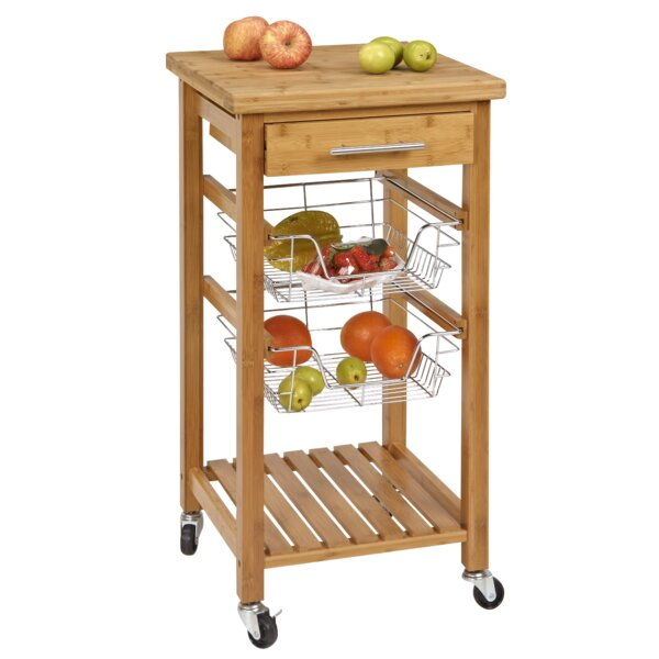 Charmant CORNER HOUSEWARES Bamboo Kitchen Cart With Storage U0026 Reviews | Wayfair