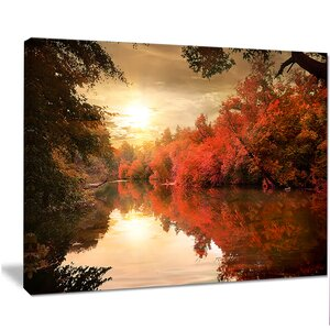 'Colorful Fall Sunset Over River' Graphic Art on Wrapped Canvas by Design Art