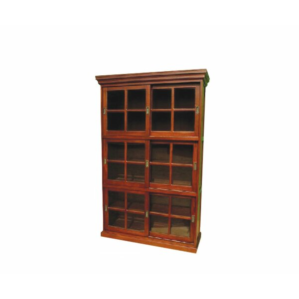 Neela Mahogany Wood 3 Section Sliding Door Display Cabinet Furniture By Longshore Tides