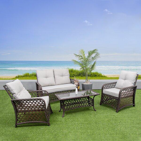 Eduardo 4 Piece Sofa Seating Group with Cushions by Bayou Breeze
