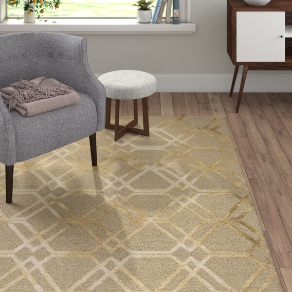 Viminal Hand-Hooked Khaki Area Rug by Langley Street