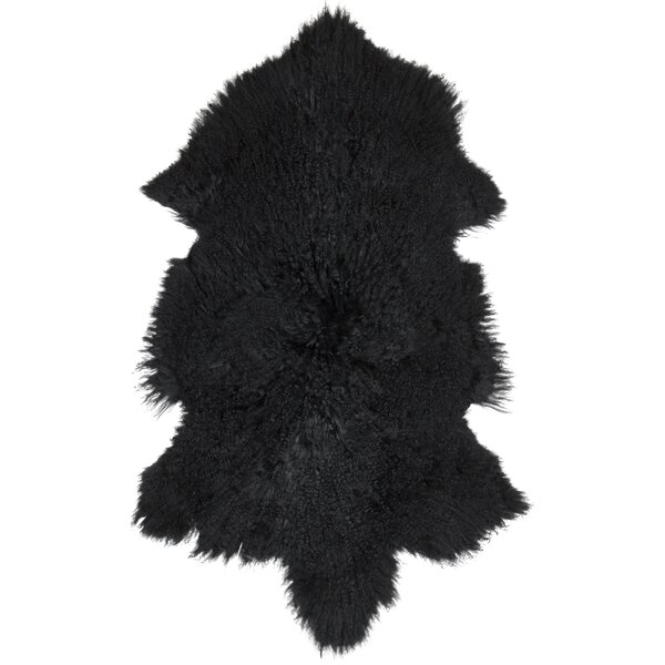 Irving Sheepskin Mongolian Black Area Rug by Union Rustic