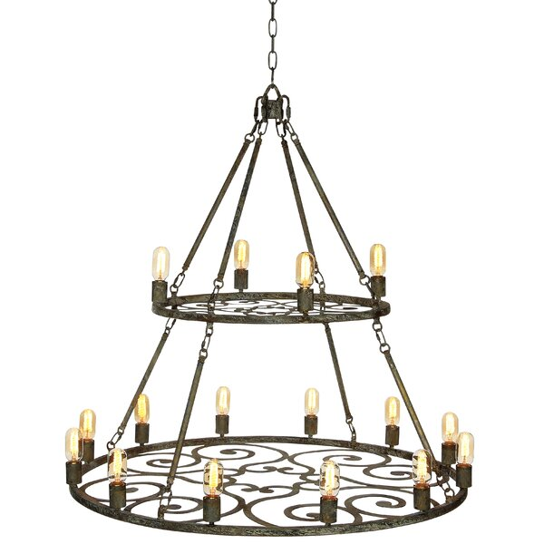 12 - Light Candle Style Wagon Wheel Chandelier By Ellahome