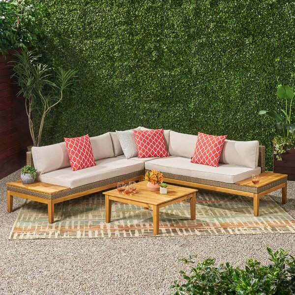 4 Piece Sectional Seating Group with Cushions by Rosecliff Heights