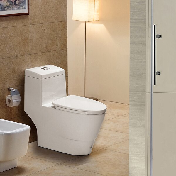 Dual-Flush Elongated One-Piece Toilet (Seat Included) by WoodBridge