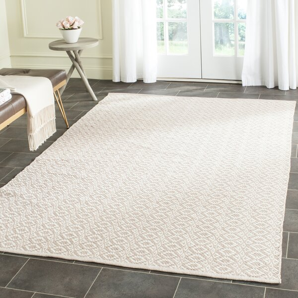 Wick St Lawrence Hand-Woven Cotton Ivory/Beige Area Rug by Wrought Studio