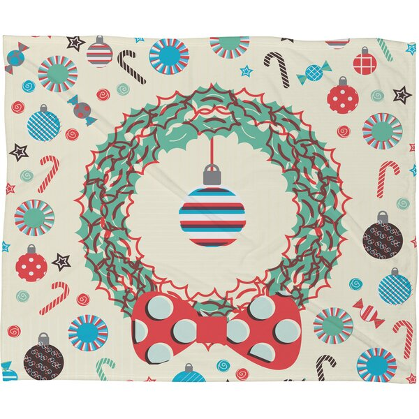 Sam Osborne Christmas Wreath Plush Fleece Throw Blanket by Deny Designs