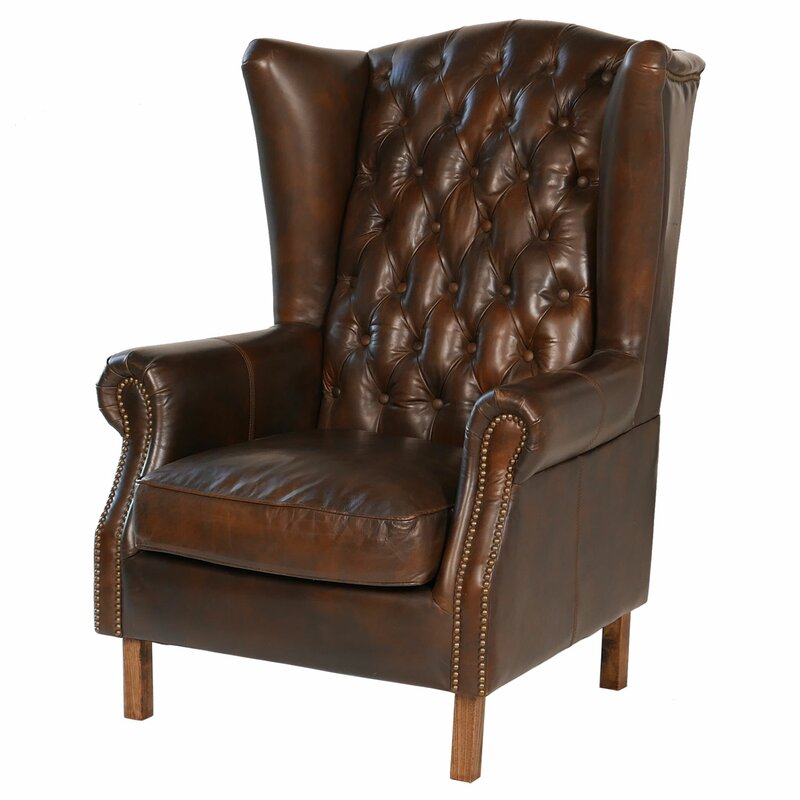 Old World Antique Leather Wingback Chair - Joseph Allen Old World Antique  Leather Wingback Chair Wayfair - Leather Antique Chair Antique Furniture