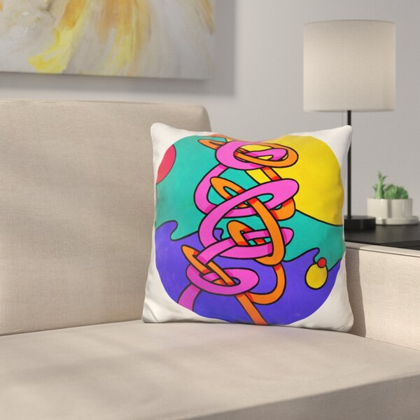 Intertwine Circle Throw Pillow by East Urban Home