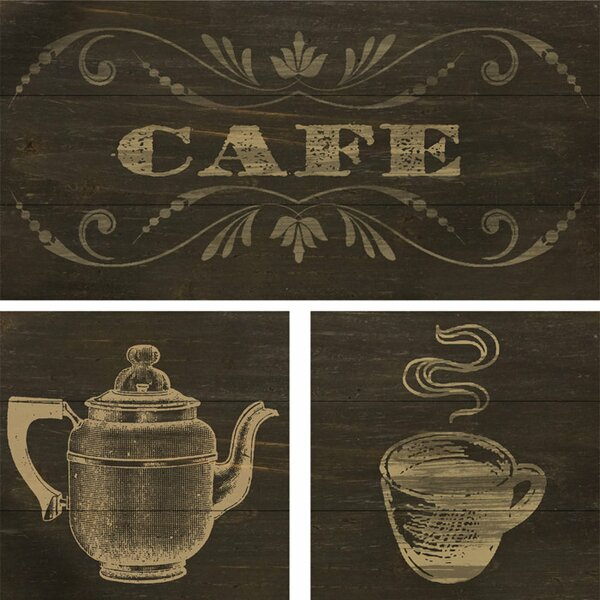 Cafe Silkscreen 3 Piece Graphic Art on Wood Set by PTM