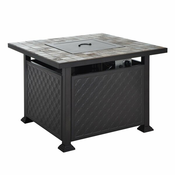 Slate Tile Mantel Aluminum Propane Gas Fire Pit Table by Outsunny