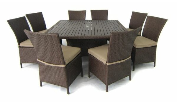 9-Piece Samantha Patio Dining Set in Light Brown by Creative Living
