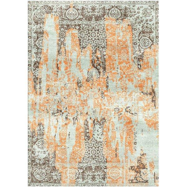 Aliza Handloom Gray/Orange Area Rug by Bungalow Rose